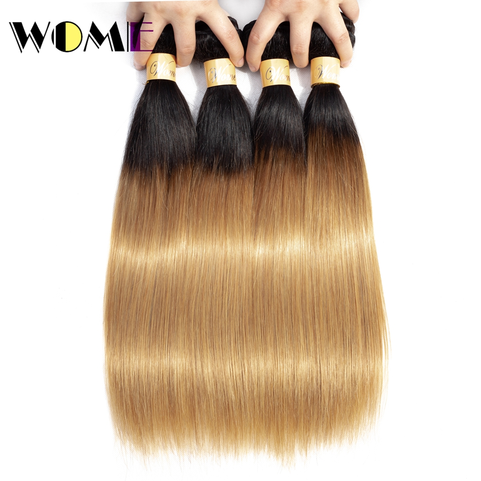Human Hair Weaves Ombre Straight Hair 4pcs/lot Malaysian Human Hair Weave Bundles Wome Color T1b/27 Silky Straight Bundles Remy Hair Extensions Hair Extensions & Wigs