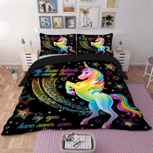 Unicorn Bedding Set Star Cartoon Duvet Cover Pillow Cases Twin Full Queen King Super King Size Kids Bedclothes Bed Cover cheap National Standards Modern 128X68 2 2m (7 feet) 1 8m (6 feet) 1 35m (4 5 feet) 1 5m (5 feet) 2 0m (6 6 feet) Printed 300TC