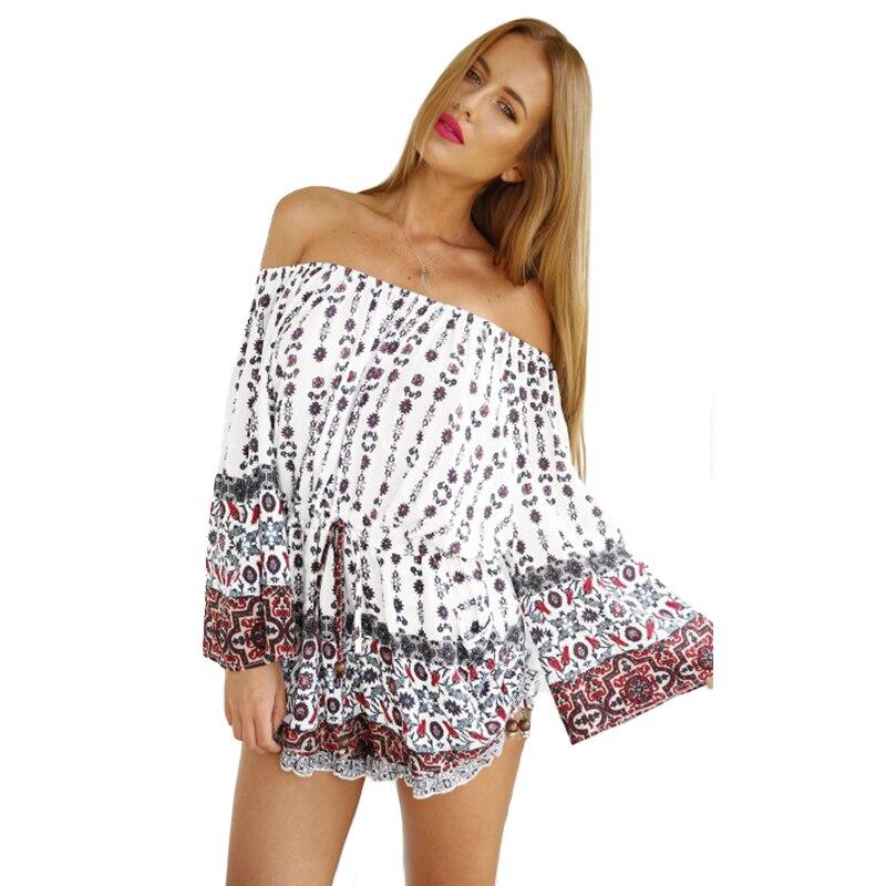 736f010b7093 New Hippie Off Shoulder Women s White Long Sleeves Short Playsuit Jumpsuit  Romper on Aliexpress.com