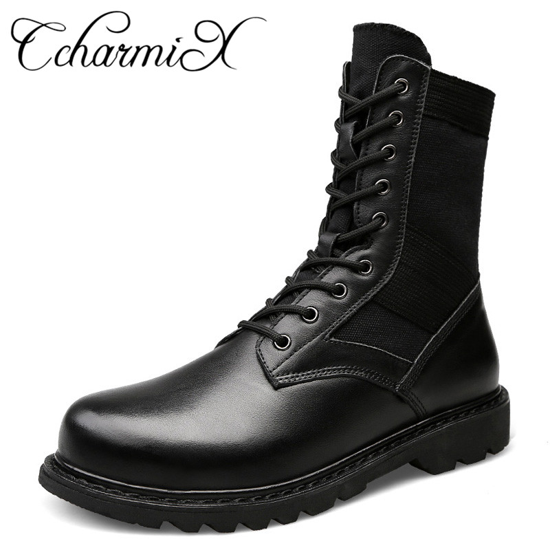 CcharmiX Large Size Genuine Leather Men s Boots Men Military Desert Boot Men Winter Outdoor Warm