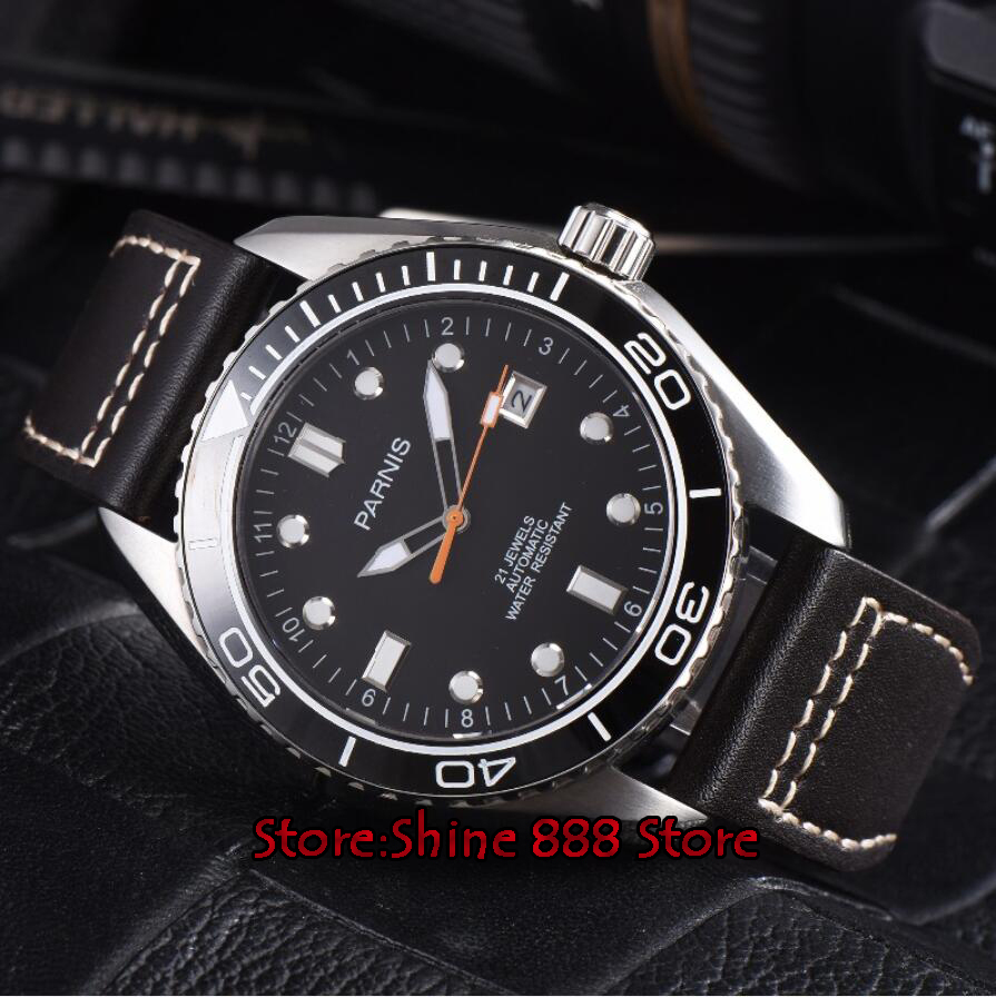 45mm parnis 방수 다이버 자동 시계 기계식 시계 세라믹 회전 베젤 5atm 사파이어 손목 시계 남성 선물-에서기계식 시계부터 시계 의  그룹 2