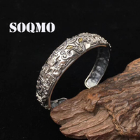 SOQMO 100% Pure 925 Sterling Silver The beast Gluttonous Vintage Bracelet Bangle for men indian famous brand jewelry SQM155