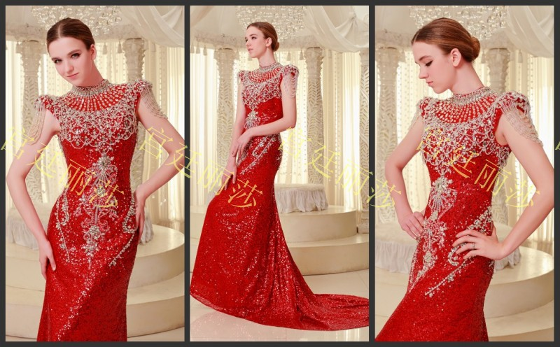 free shipping 2016 new design sexy beaded luxury crystal formal brides red long married elegant evening party gowns   prom     dresses