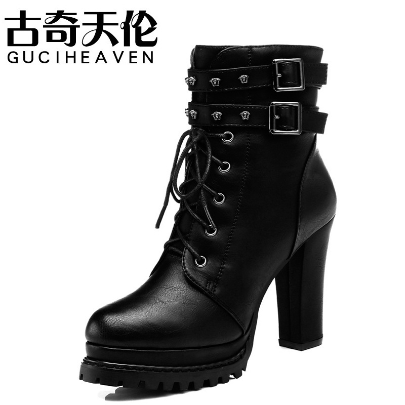 ФОТО 2016 winter boots with Martin crude fashionista short boots and high-heeled boots British style shoes Pedicure cashmere