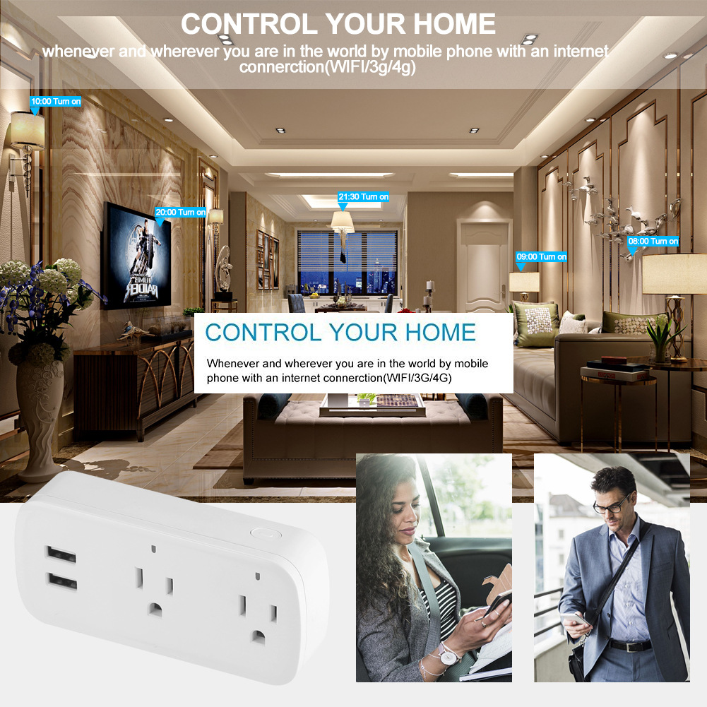 Image 3 - Smart Wifi Power Strip Surge Protector Multiple Power Sockets 2 USB Port Voice Control for Amazon Echo Alexa's Google Home Timer-in Mobile Phone Chargers from Cellphones & Telecommunications