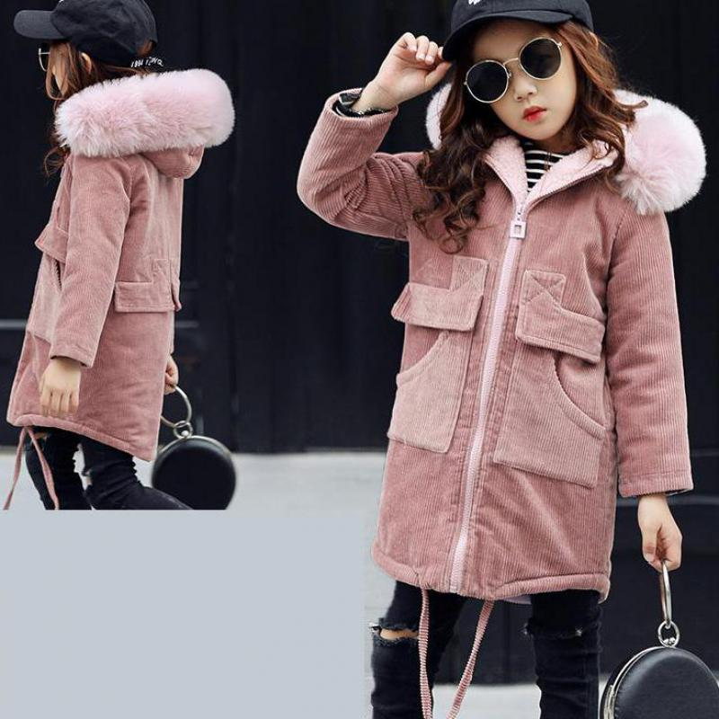 2018 New Fashion Children Winter Jacket Toddler Girls Winter Coat Kids Warm Thick Fur Collar Hooded long down Coats For Teenage new 2018 fashion children winter jackets girls winter coat kids warm hooded long down coats for teenage girls casaco infantil 12