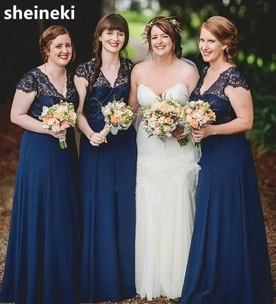 c83dd3cf9d Detail Feedback Questions about Navy Blue Chiffon V Neck Lace A Line  Bridesmaids Dresses Short Sleeves Long Floor Length Plus Size Garden Wedding  Guest ...