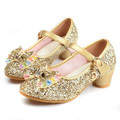 New Princess Girls High-heeled Shoes Children Glitter Bowtie Wedding Shoes Dress Fashion Dance Shoes Kids Comfortable 03