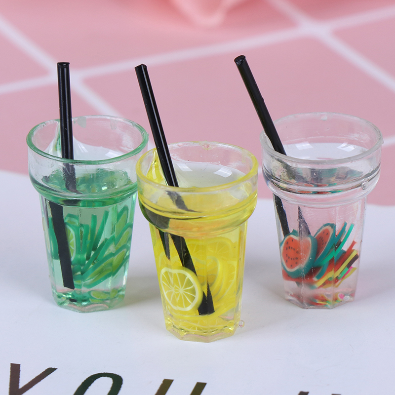 Hot Resin Mini 1:12 Scale Fruit Lemon Simulation Drink For Dollhouse Miniature Toy Milk Tea Drink Doll Food Kitchen Accessories