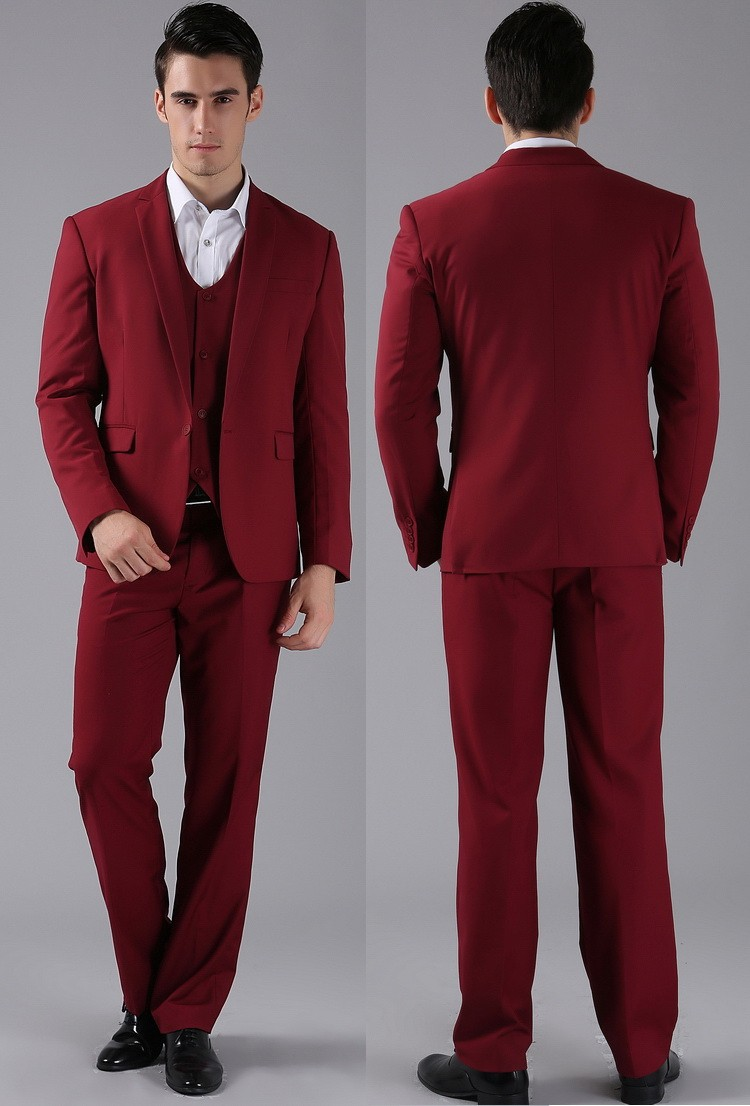 Hot Sale Groom Tuxedo Notch Lapel Groomsmen Burgundy/Wine Wedding