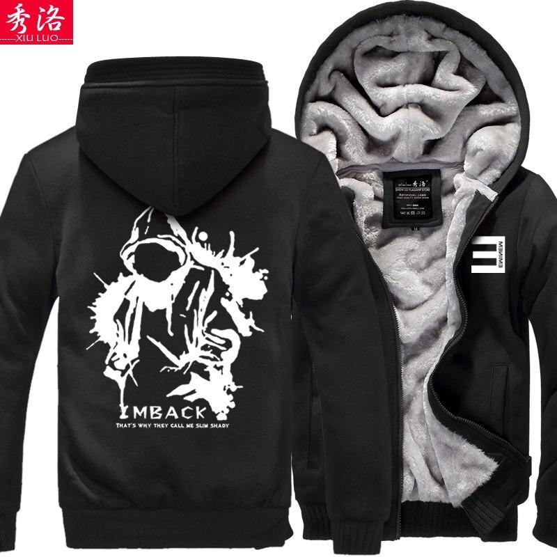 eminem hiphop bboy zipper thickening sweatshirt font b hoodie b font coat jacket