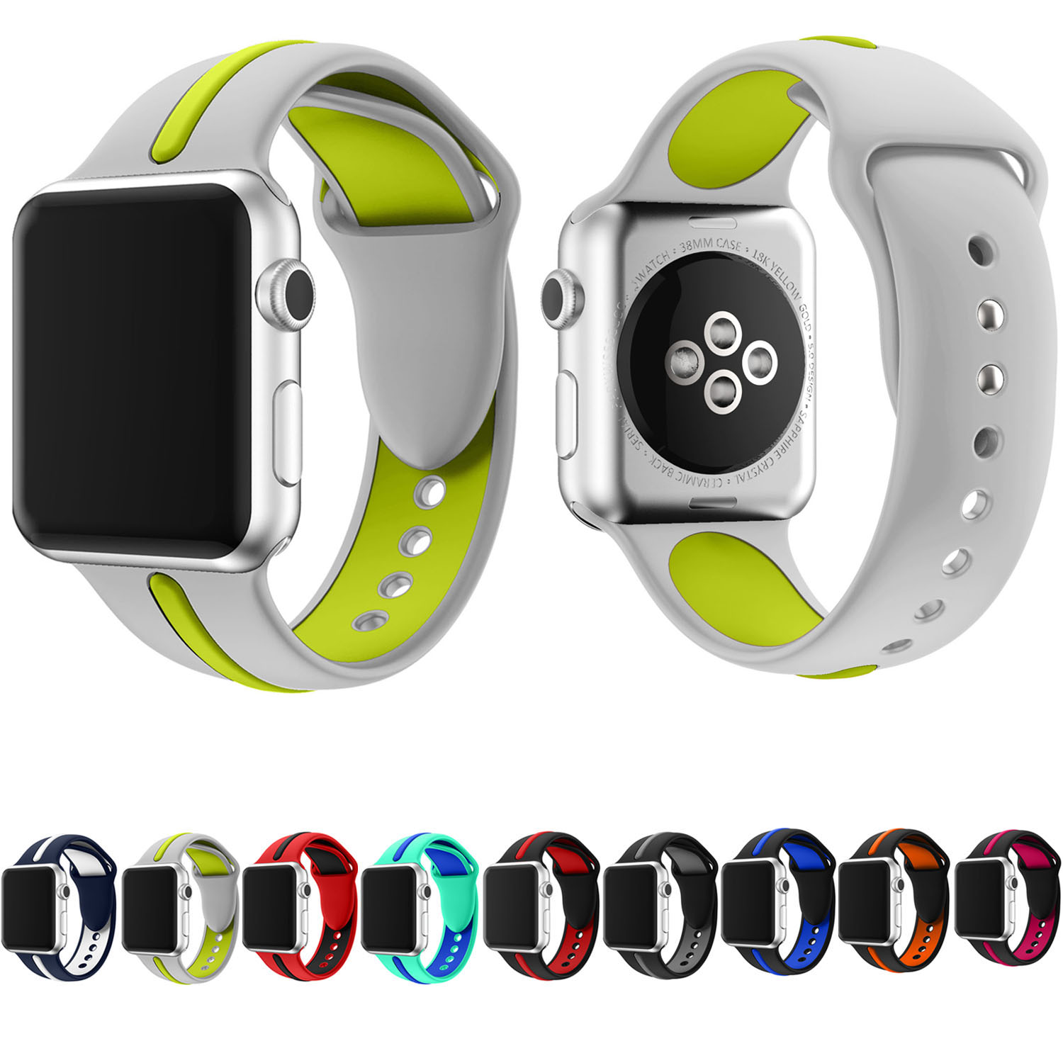 New Arrival Dual Colors Sport Silicone Band for Apple Watch 42mm 38mm Strap Replacement Bracelet for iWatch 3/2/1 Wristbands