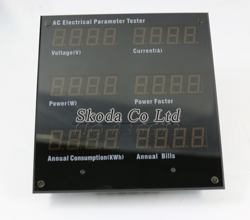 Power meter AC electrical parameter tester for test Voltage/current/power/Power factor/Frequency/Annual electricity consumption