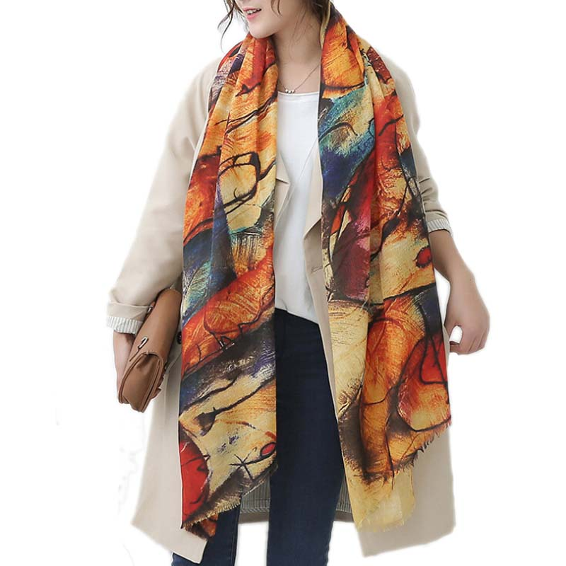 Long Graffiti Women Scarves Autumn Winter Pashmina Poncho Foulard Scarf Designer Oversized Warm Scarf Shawl New Female Shawls