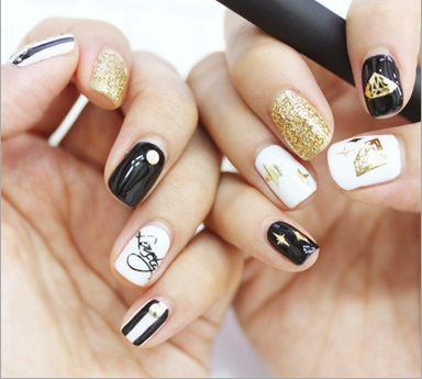 3D Gold Nail Stickers Decals Minx Korean Art Wraps Metallic Flowers Star Bow Letters