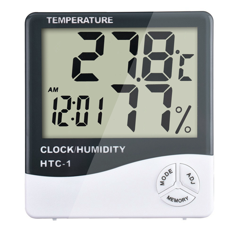 MOSEKO High accuracy LCD Digital Thermometer Hygrometer Weather Station Indoor Electronic Temperature Humidity Meter Clock HTC-1