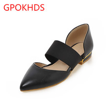 Big size 33-45 high quality hot sale 2017 new style women casual autumn spring black color flats sandals shoes
