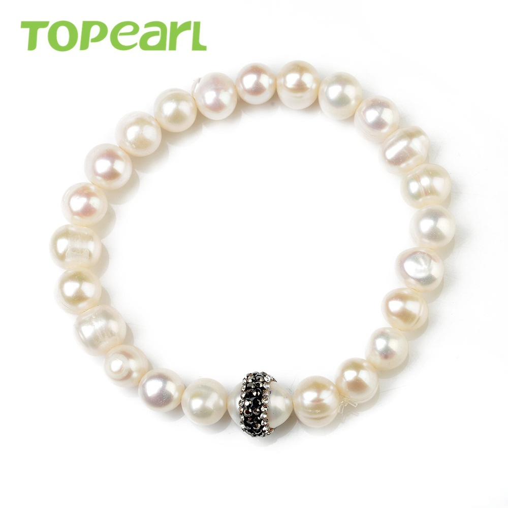 Topearl Jewelry Potato 78mm Freshwater Pearl Clay Rhinestones Stretch  Bracelet Fbr168(china (