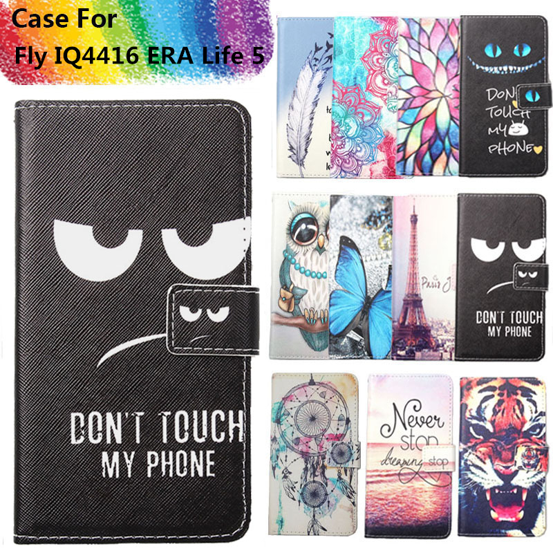 Fashion 11 Colors Cartoon Painting PU Leather Magnetic clasp Wallet Cover For Fly IQ4416 ERA Life 5 Case