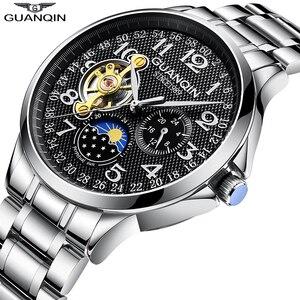 Image 3 - 2019 mode GUANQIN Herren Uhren Top Brand Luxus Skeleton Uhr Männer Sport Leder Tourbillon Automatische Mechanische Armbanduhr