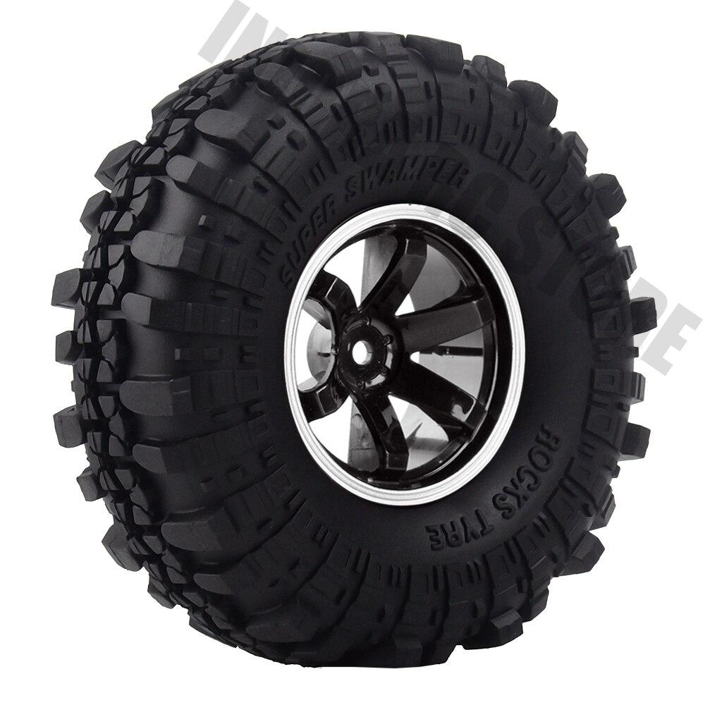 1.9 Inch Plastic Wheel Rim&Rubber Rock Terrain Truck Tires  4Pcs Set For 1:10 RC Crawler Axial SCX10 90046 Tamiya CC01 D90