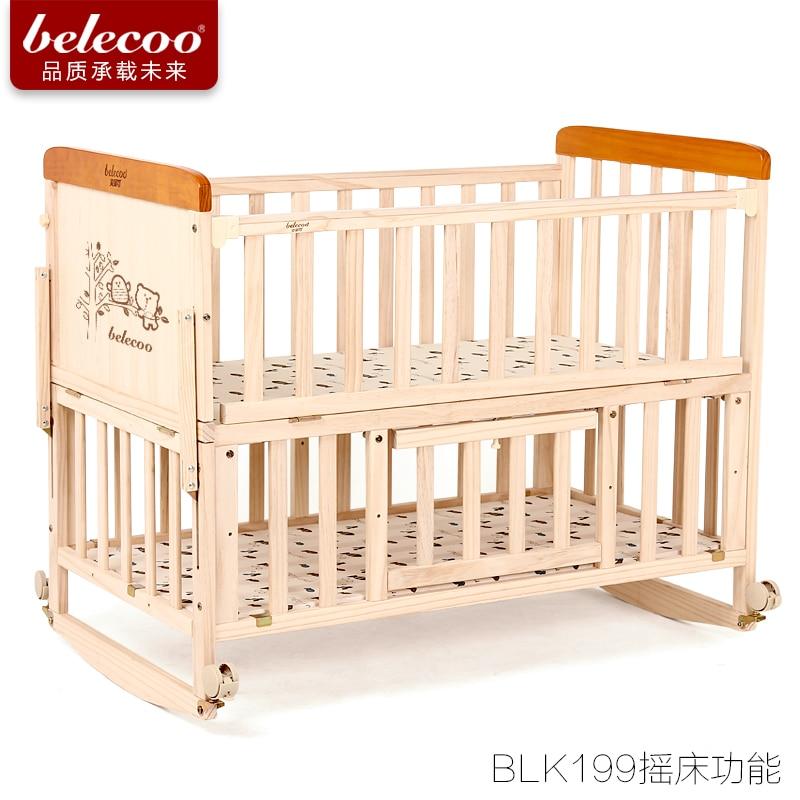 Belecoo кроватки Твердая Древесина Многофункциональный Детская кровать трясет кровать новорожденных BB без краски дети bedbabyfond бренд