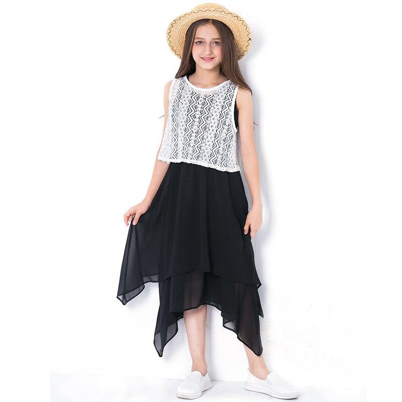 2018 Summer Dress Children's Chiffon Clothing Girls Dresses Irregular Hem Black Vest Sleeveless Sundress For Kids 6789 10 12 14 navy random floral print v neck sleeveless irregular hem dress