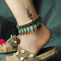 Mulheres tornozeleira por atacado 2016 novos acessórios DIY turquesa ágata sino retro corda pé jóias pulseira cheville tornozeleiras dom T011