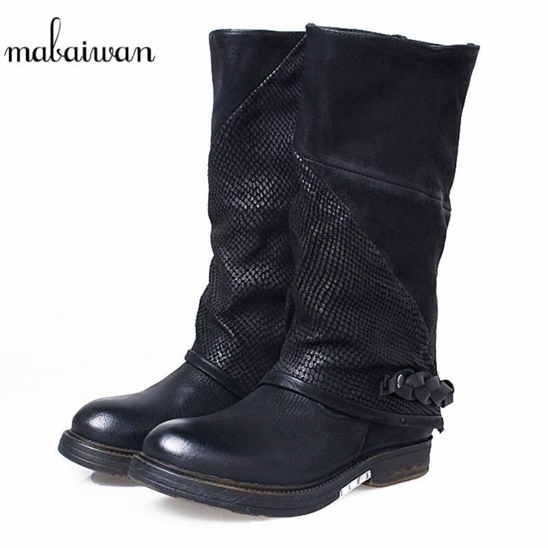 Mabaiwan Fashion Women Shoes Black Flats Square Heel Genuine Leather Retro Straps Shoes Woman Mid Calf Military Cowboy  Boots mabaiwan handmade rivets military cowboy boots mid calf genuine leather women motorcycle boots vintage buckle straps shoes woman