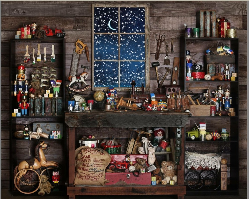 Christmas Store Shop Snow Window Wood Shed Mechanic Tools background Vinyl cloth High quality Computer print party backdrop managing the store
