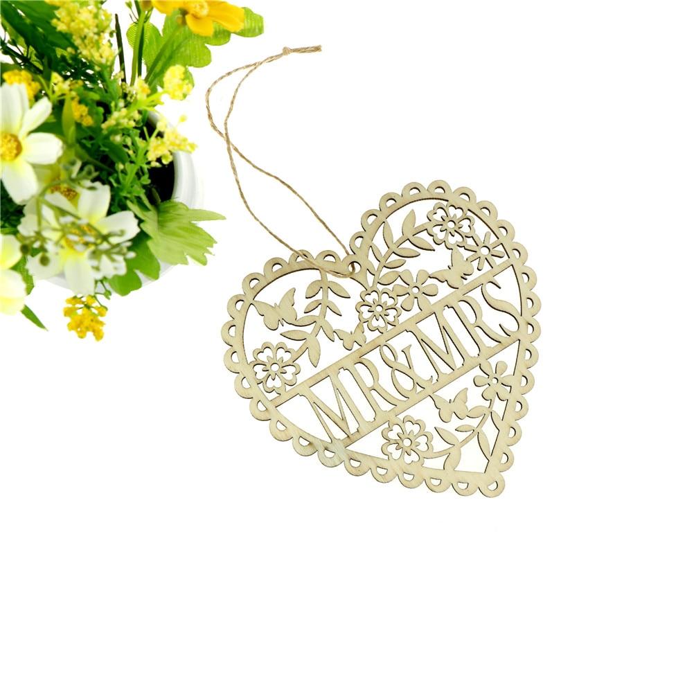 1 шт. Mr Mrs лазерной Свадебные украшения Свадебные ремесленного с деревянный Любовь Сердце с орнаментом
