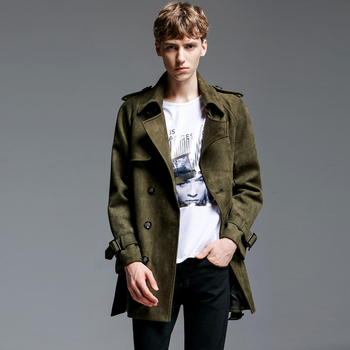 Hot High Quality Army Green Autumn And Winter New Brand Men Turn-down Collar Slim Outerwear Mens Suede Fabric Plus Size Jackets