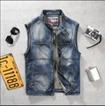 M-3XL Spring and autumn Men stand-up collar denim vest Slim retro Sleeveless Jacket  jacket tide denim vest TOP singer costumes
