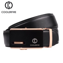 COOLERFIRE Men Belt 2017 Cowhide Genuine Leather Belts For Luxury Automatic Buckle Brown Black Cinturones Hombre ZD062