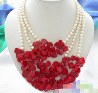 Huij 004788 3row White Round Freshwater Pearl Red Coral Necklace