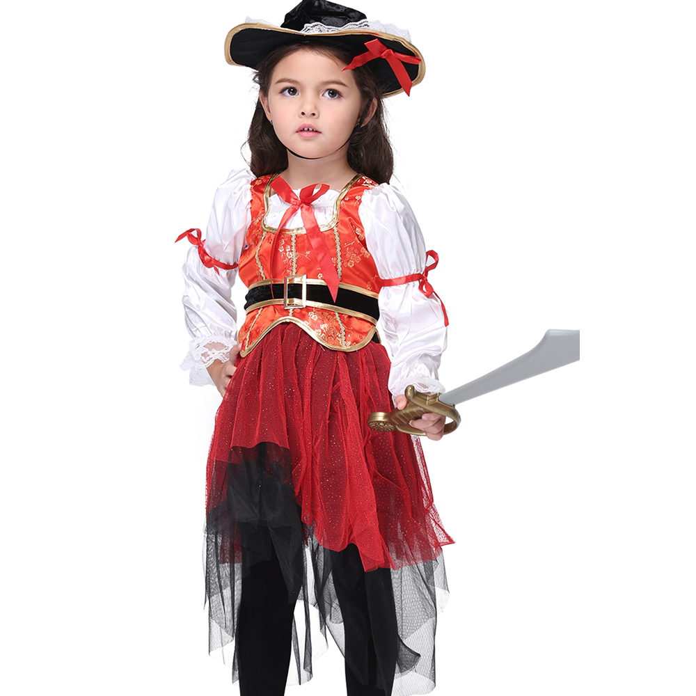 3 11Years Girls Pirate Costume Party Cosplay Dress Perform