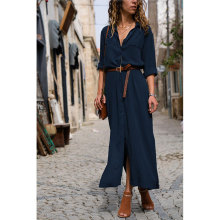 2019 Fashion Women Casual Long Dress Solid Autumn Winter Sleeve Turn Down Shirt Button Maxi Dresses Vestido H30