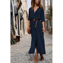 2019 Fashion Women Casual Long Dress Solid Women Autumn Winter Long Sleeve Turn Down Shirt Button Shirt Maxi Dresses Vestido H30