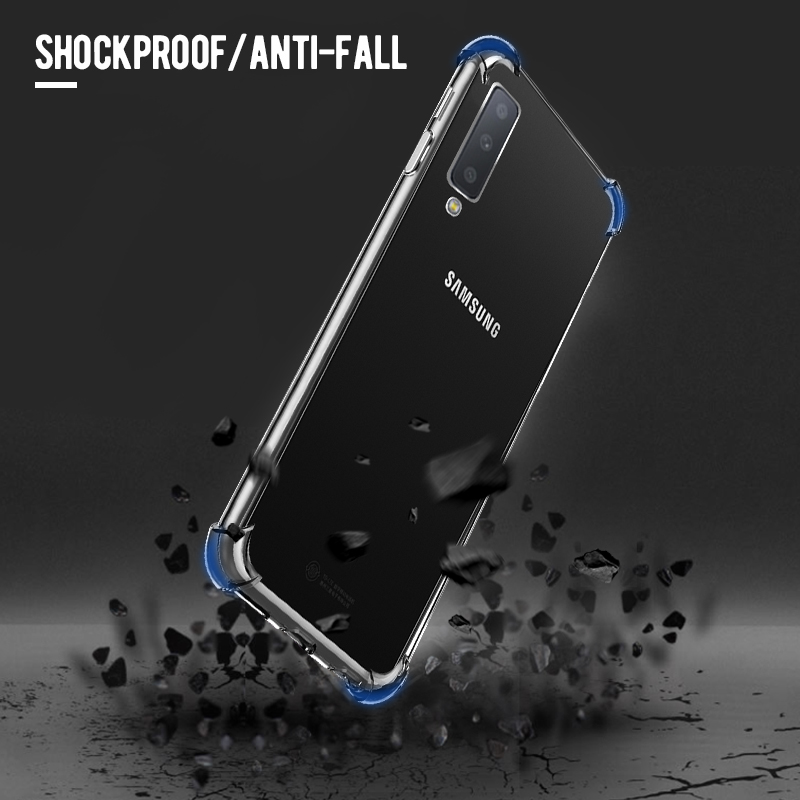 Silicone TPU Case For Samsung Galaxy A7 A9 2018 A50 A30 A20 M20 10 Airbag Anti-Drop Cover For Galaxy Note 10 S10 A6 A8 Plus 2018