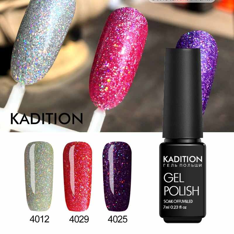 Kadition Neon Baru 7 Ml Warna Kuku Gel Polandia UV LED Rendam Off Semi Permanen Neon Gel Varnish Gelpolish Beruntung bling Hybrid Pernis