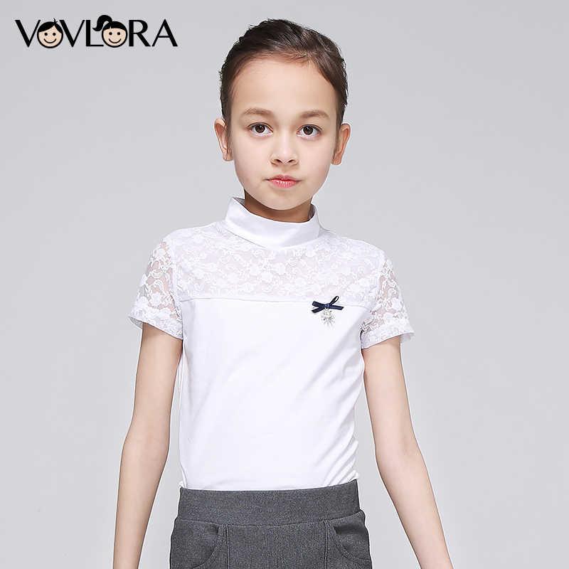 ba50be4c240 ... VOVLORA 2019 футболка детская для девочки Школьная блузка из хлопка  короткие рукава кружево воротник стойка топ ...