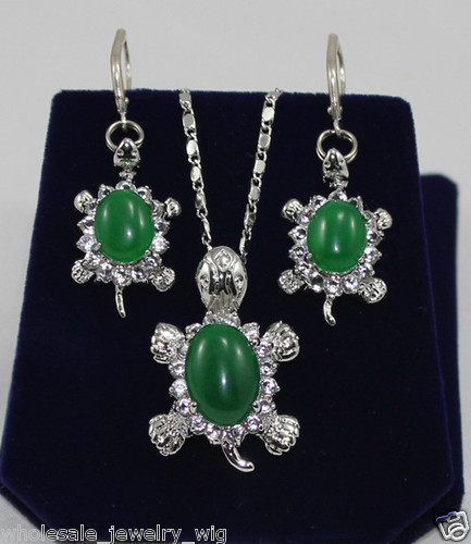 Genuine lady Women bridal jewelry Women's Fashion new Jewelry crystal green gem stone Tortoise pendant earring set 925 silver