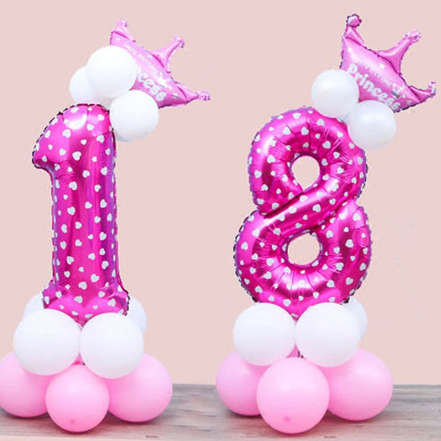 Blue And Pink Balloons Digital Number Crown Aluminum Foil Pillar Birthday Party Road Lead Baby