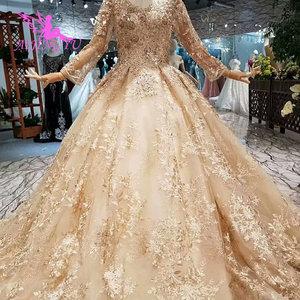Image 3 - AIJINGYU düğün konuk elbiseler müslüman abiye Dubai pelerin uzun kore nişan lüks kristal elbisesi gelinlik