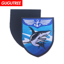 GUGUTREE embroidery HOOK&LOOP shark patch wings patches badges applique for clothing AD-376