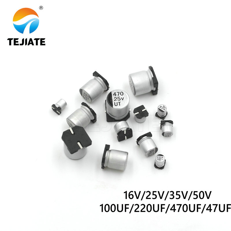 10PCS paster Aluninum Electrolytic Capacitor SMD 16V 25V <font><b>35V</b></font> 50V 100UF <font><b>220UF</b></font> 470UF 47UF Surface Mount 2200UF image