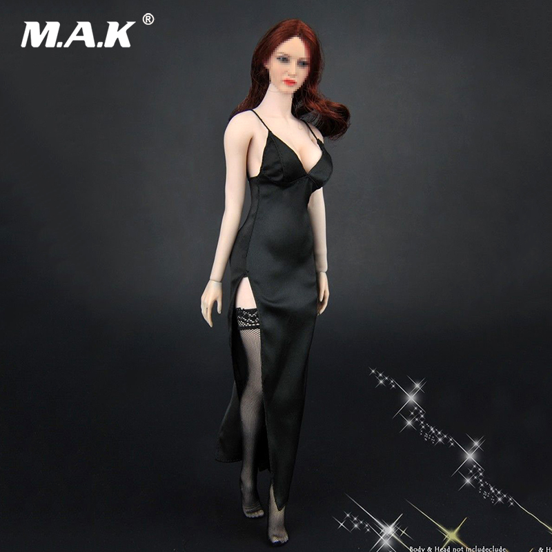 1/6 Scale Sexy woman Black Evening Dress Stockings Clothing Set  for female body figure toy gift1/6 Scale Sexy woman Black Evening Dress Stockings Clothing Set  for female body figure toy gift