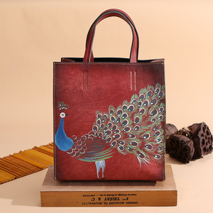 Image 3 - Johnature 2020 New Genuine Leather Casual Tote Vintage Animal Prints Zipper Hard Versatile Hand Painted Peacock Women Handbags