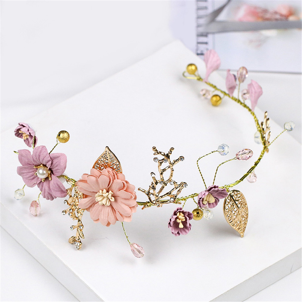 1Pcs Bride Headwear Head Band Hair Accessories Wedding Headdress Purple Flower Tiaras Alloy Headpiece Crown