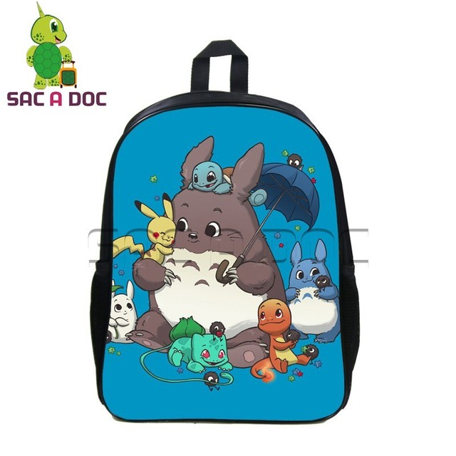 57420960605f Chibi Totoro Pokemon Pikachu Printing Backpack Cartoon Children School Bags  Pokemon Backpacks Teenage Boys Girls Travel Bag